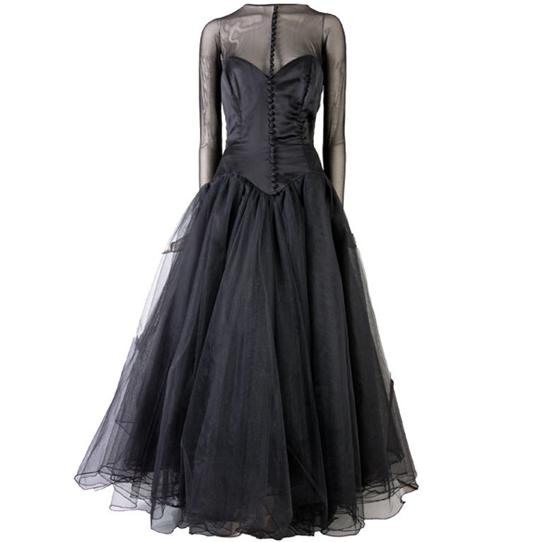 Vicky Tiel Couture Custom Made Black Evening Gown  1