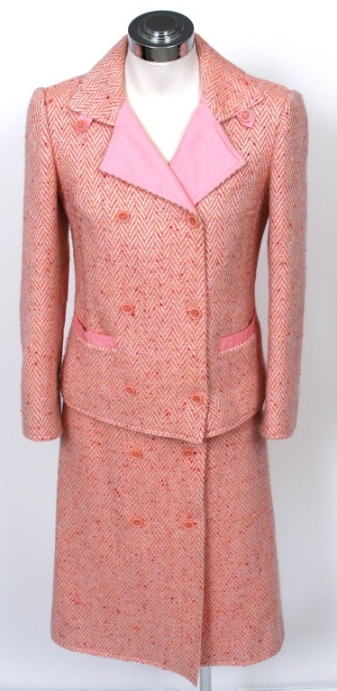 Courreges Pink Tweed Skirt Suit For Sale At 1stdibs