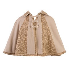 1940's Brown Embroidered Vintage Cape