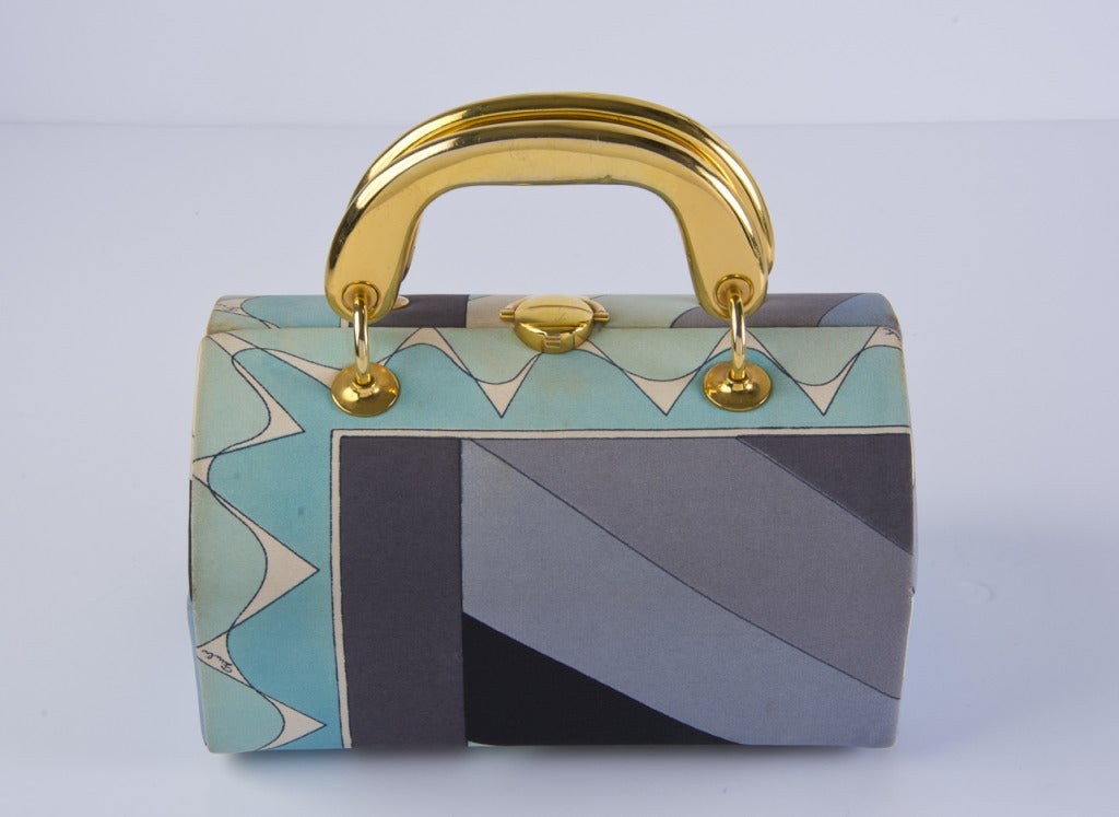 Vintage 1960's Emilio Pucci Handbag Grey & Aqua Fabric with Gold Tone Hardware 2