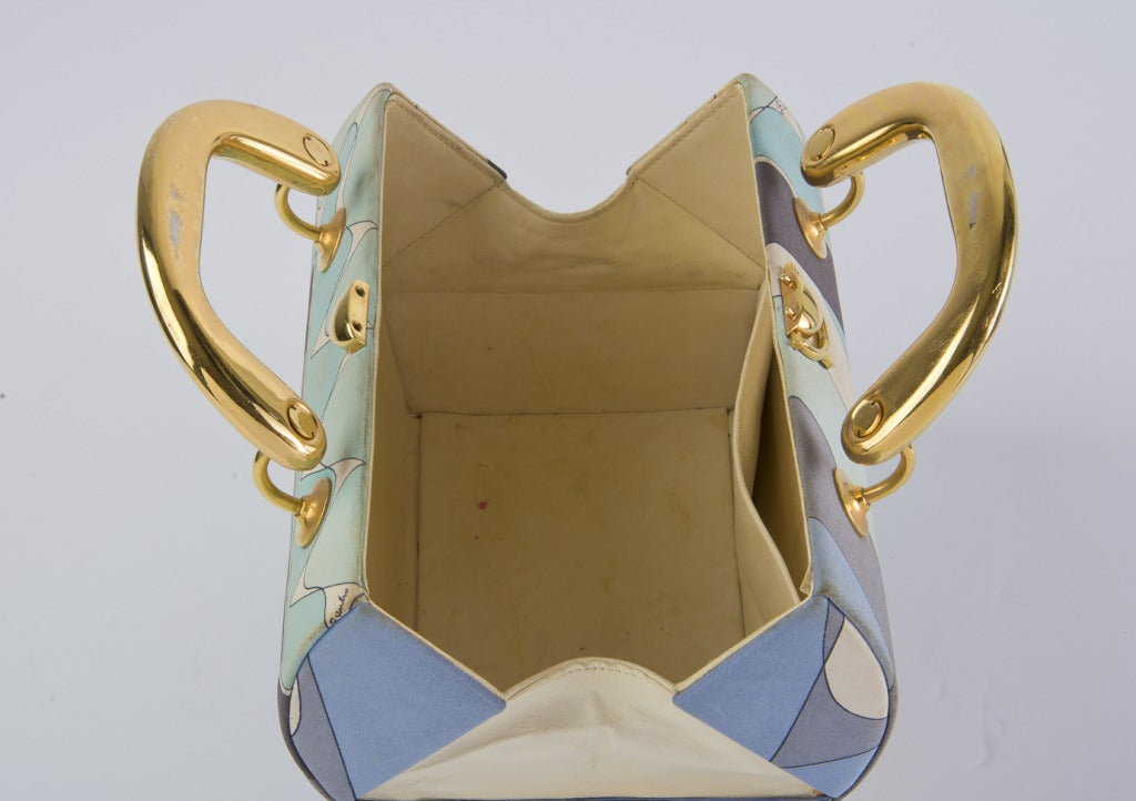 Vintage 1960's Emilio Pucci Handbag Grey & Aqua Fabric with Gold Tone Hardware 3