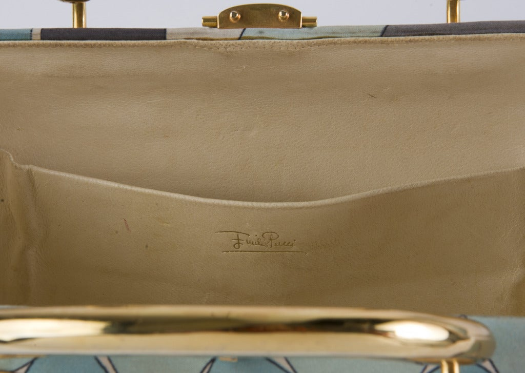 Vintage 1960's Emilio Pucci Handbag Grey & Aqua Fabric with Gold Tone Hardware 4
