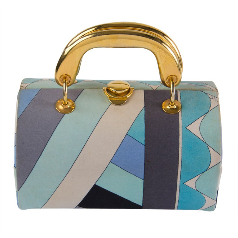 Vintage 1960's Emilio Pucci Handbag Grey & Aqua Fabric with Gold Tone Hardware 1