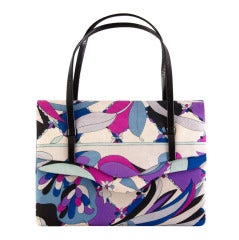 Emilio Pucci Vintage Purple Blue Creme Print Handbag/Clutch