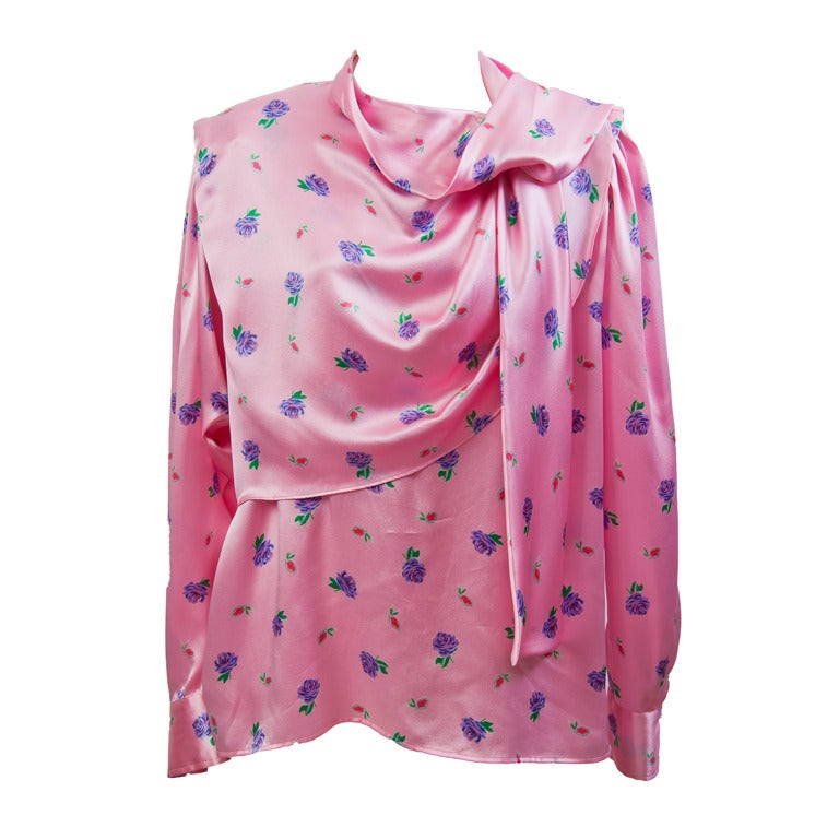 Ungaro Pink with Purple Rose & Pink Leaf Print Long Sleeve Silk Blouse