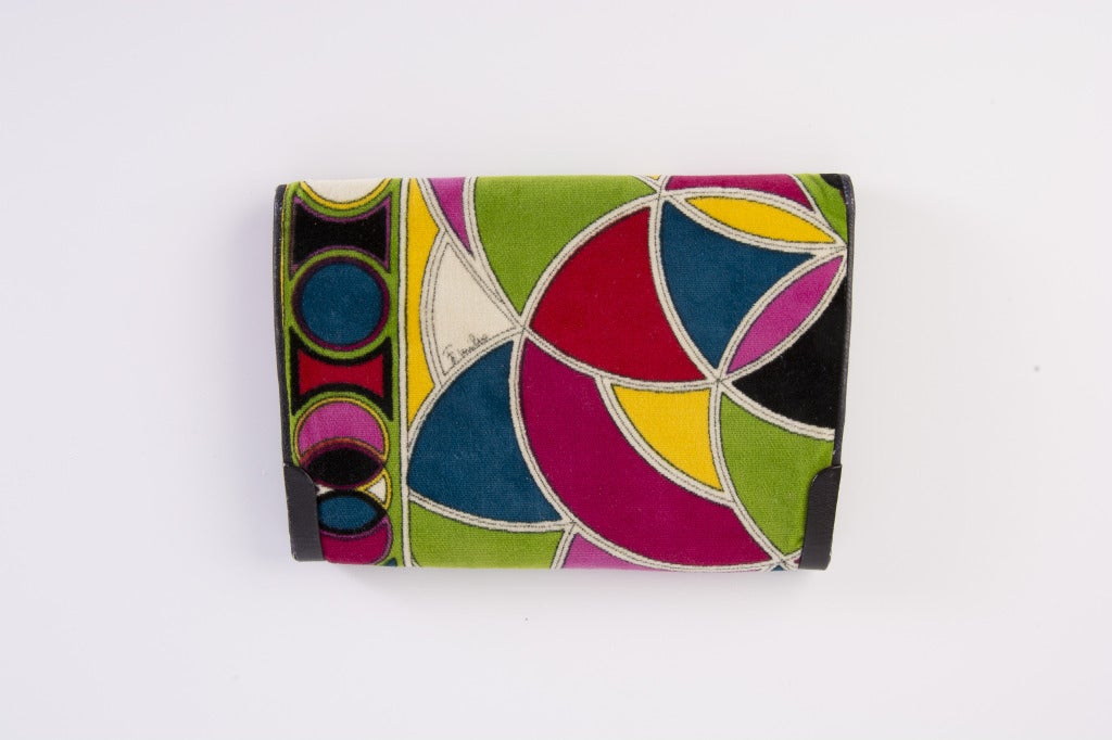 Vintage Emilio Pucci Multi Colored Velvet Clutch W Leather