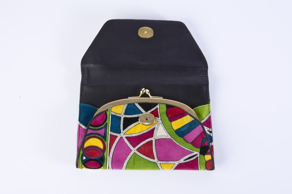 Vintage Emilio Pucci Multi Colored Velvet Clutch w/Leather Trim Mint Deadstock 3
