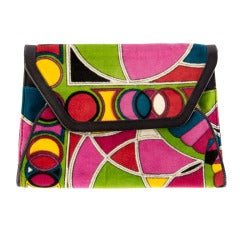 Vintage Emilio Pucci Multi Colored Velvet Clutch w/Leather Trim Mint Deadstock