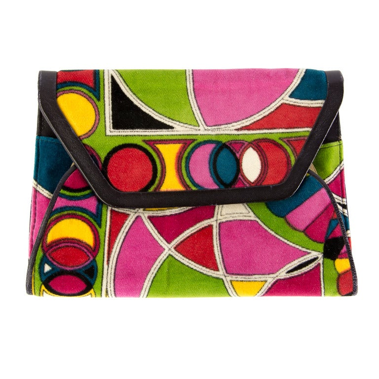 Vintage Emilio Pucci Multi Colored Velvet Clutch w/Leather Trim Mint Deadstock 1