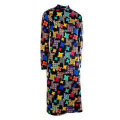 Vintage Leonard Black w/Multi-colored Pattern Long Sleeve Dress Rare