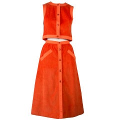 Courreges Orange Corduroy Two Piece Vest & Skirt Set