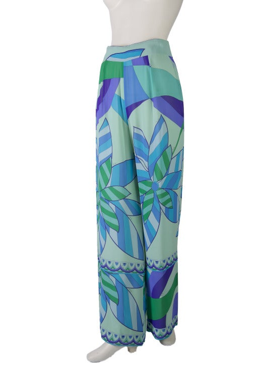 Emilio Pucci Blue, Green, Seafoam Floral Silk Lounge Pants Size 10 2