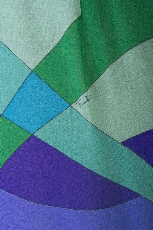 Emilio Pucci Blue, Green, Seafoam Floral Silk Lounge Pants Size 10 5
