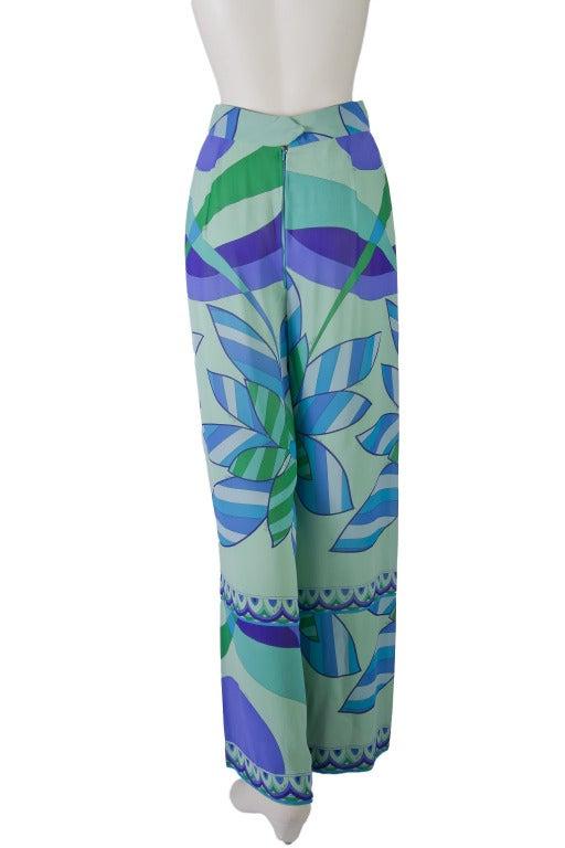 Emilio Pucci Blue, Green, Seafoam Floral Silk Lounge Pants Size 10 6