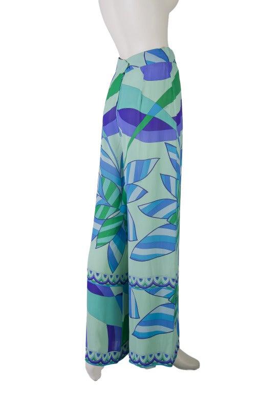 Emilio Pucci Blue, Green, Seafoam Floral Silk Lounge Pants Size 10 7