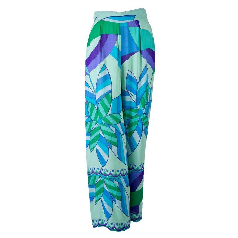 Emilio Pucci Blue, Green, Seafoam Floral Silk Lounge Pants Size 10 1