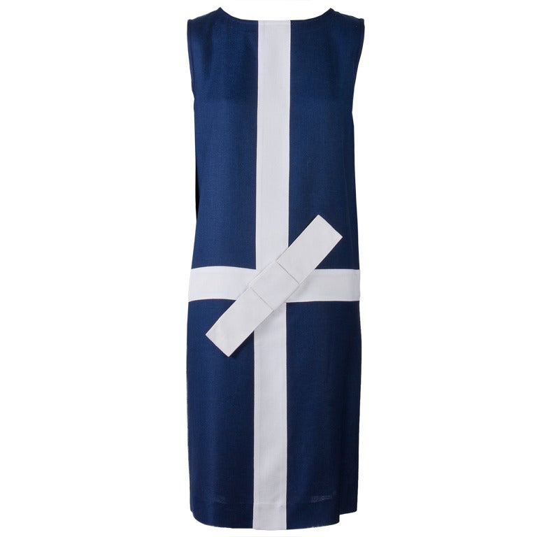 Courreges Navy with White Trim and Bow Sleeveless Dress