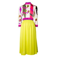 Emilio Pucci Vintage Chartreuse & Magenta 3/4 sleeve Silk Dress