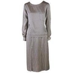 Chanel Black & White Check Silk Two Piece Blouse & Skirt Set Size 34