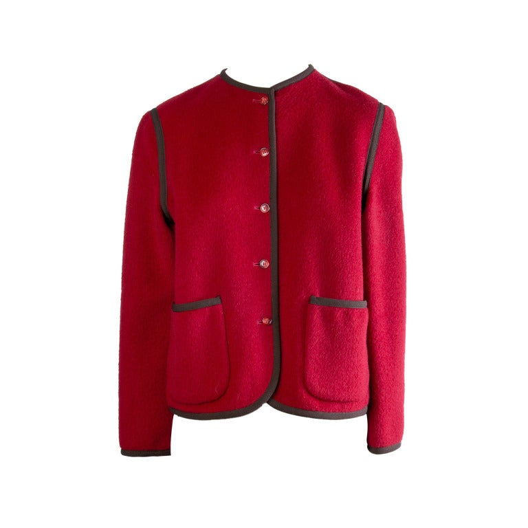 Pierre Cardin Red with Black Detail Wool Coat/Jacket Size 6