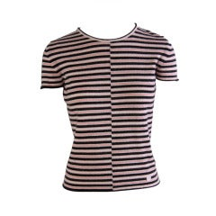 Chanel Pink White & Black Striped Cashmere Short Sleeve Sweater