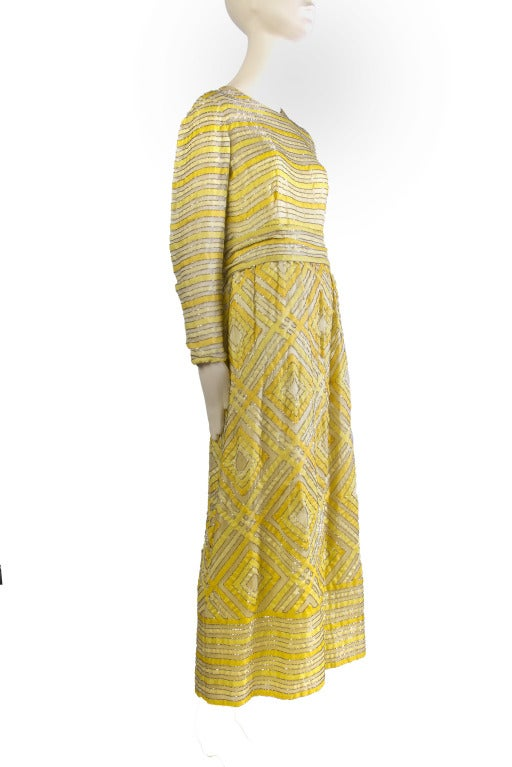 1960's Vintage Malcolm Starr Beaded Golden Yellow Gown Maxi Dress 2