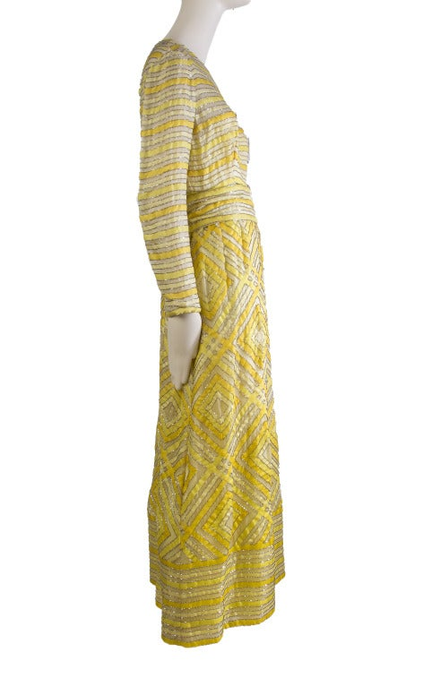 Beige 1960's Vintage Malcolm Starr Beaded Golden Yellow Gown Maxi Dress For Sale