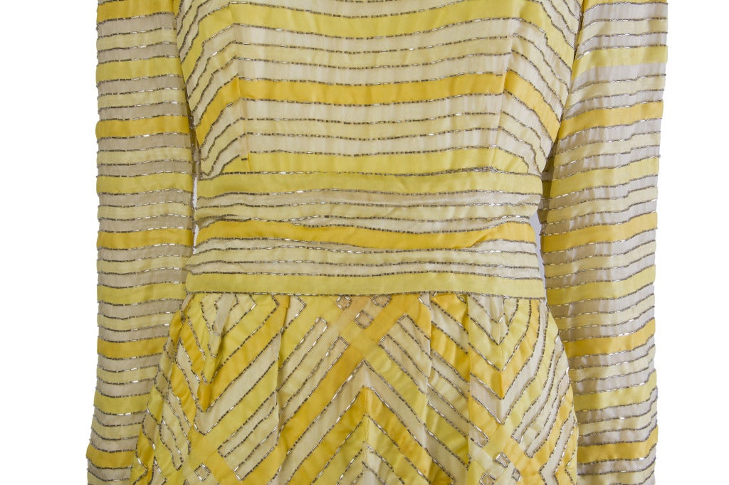 1960's Vintage Malcolm Starr Beaded Golden Yellow Gown Maxi Dress In Good Condition For Sale In Boca Raton, FL