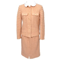 Courreges Salmon Colored Wool Skirt Suit