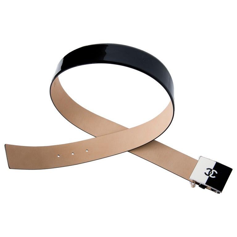 chanel belt. new chanel belt black patent leather - enamel cc logo buckle size 90 1
