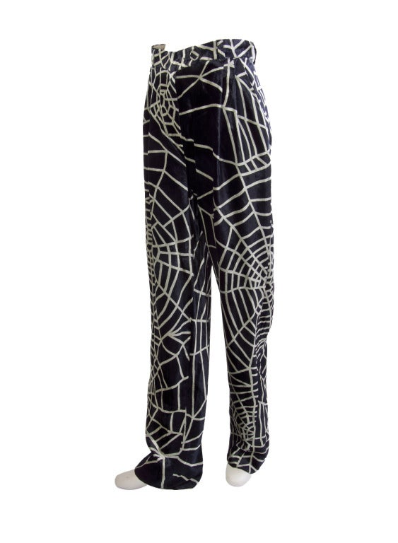 1990's Moschino Spider Web Velvet Pants Size 42 2