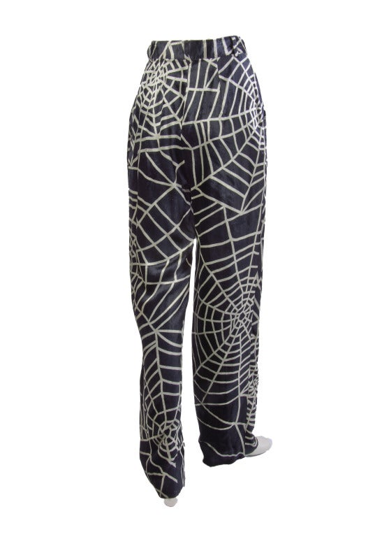 Women's 1990's Moschino Spider Web Velvet Pants Size 42 For Sale