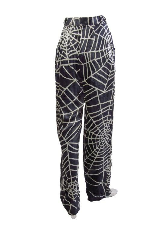 1990's Moschino Spider Web Velvet Pants Size 42 4