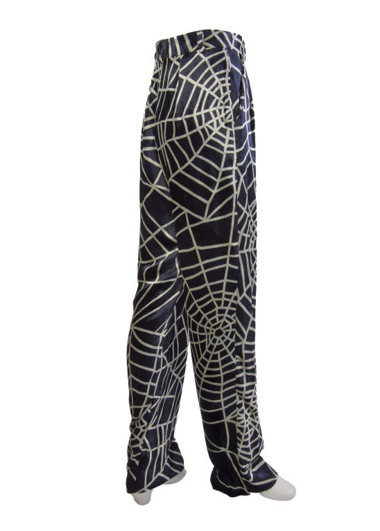 1990's Moschino Spider Web Velvet Pants Size 42 For Sale 1