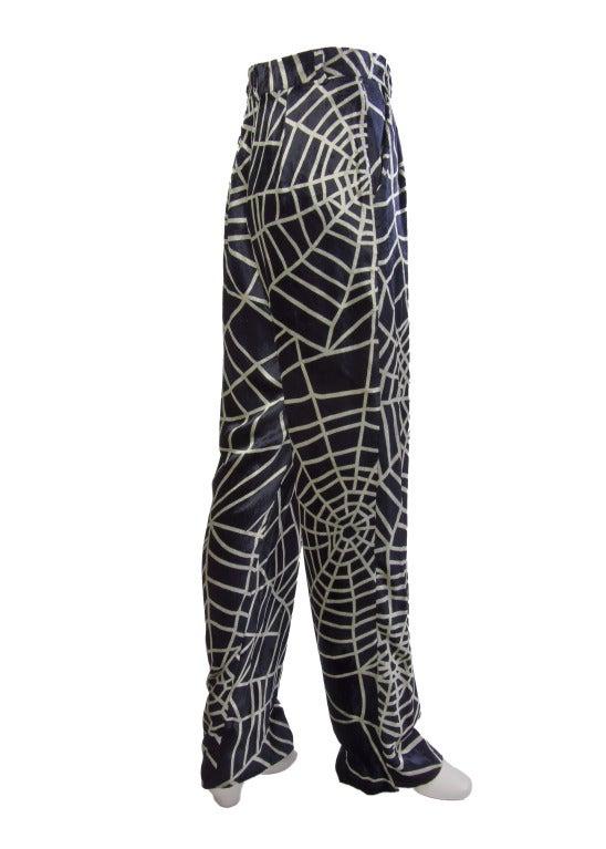 1990's Moschino Spider Web Velvet Pants Size 42 5