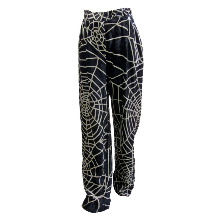 1990's Moschino Spider Web Velvet Pants Size 42 For Sale