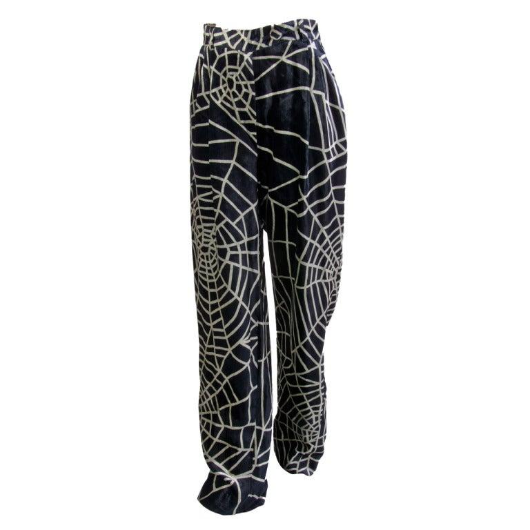 1990's Moschino Spider Web Velvet Pants Size 42 1