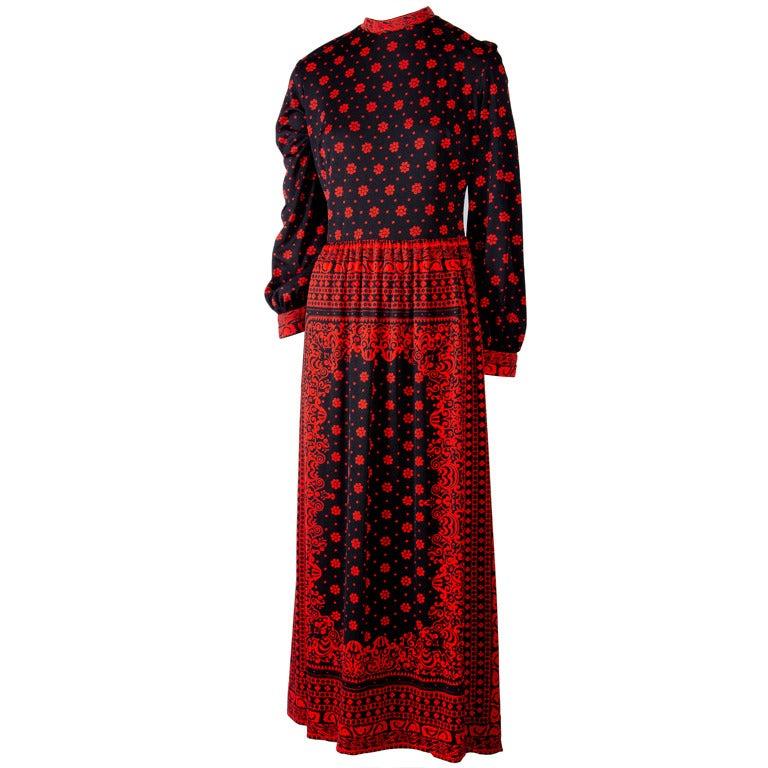 Mr. Dino Black - Red Floral Print Maxi Dress