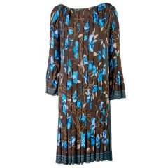 Emilio Pucci Brown with Blue Print Ruched & Pleated Long Sleeve Dress Size 8
