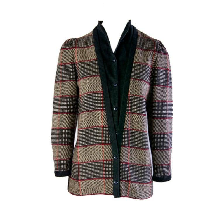 1980's Lanvin Wool & Corduroy Plaid Coat