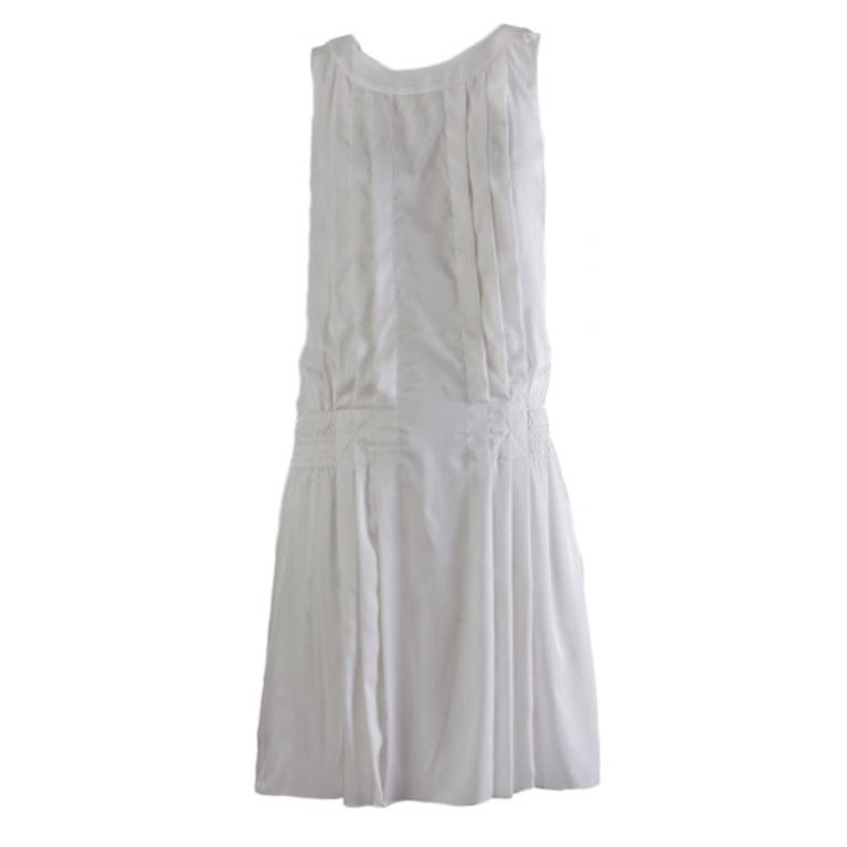 New by Chanel White Pleated Sleeveless Silk Sun Dress 1