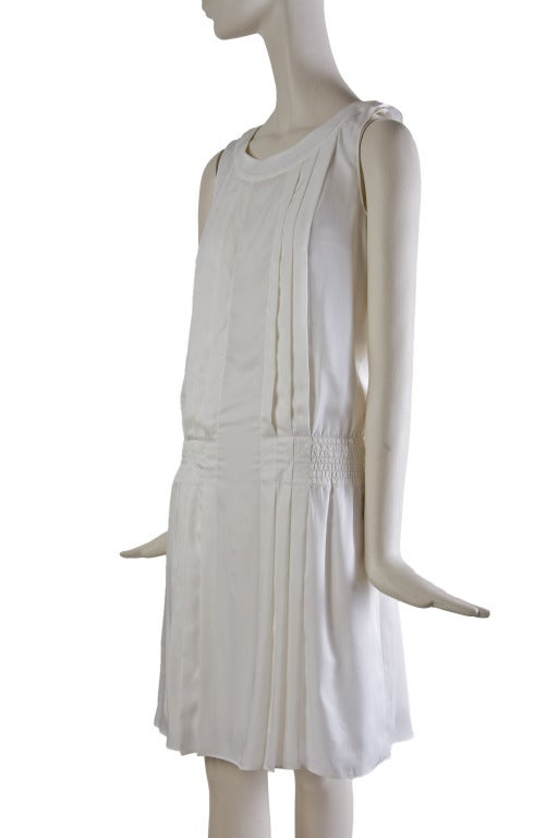 New by Chanel White Pleated Sleeveless Silk Sun Dress 2