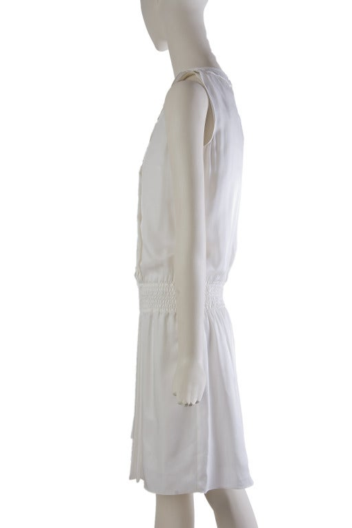 New by Chanel White Pleated Sleeveless Silk Sun Dress 3