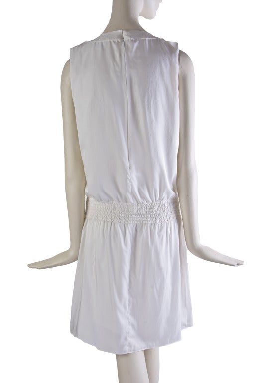 New by Chanel White Pleated Sleeveless Silk Sun Dress 4