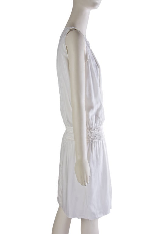 New by Chanel White Pleated Sleeveless Silk Sun Dress 6