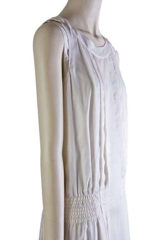 New by Chanel White Pleated Sleeveless Silk Sun Dress 7