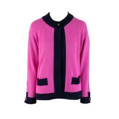 Chanel Fuchsia & Black Cashmere Sweater Two Piece Set Size 46