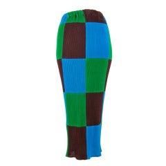 Issey Miyake Blue Green Brown Color Block Maxi Skirt Medium