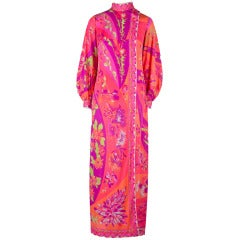 Vintage Emilio Pucci Bright Pink & Orange Robe Maxi Dress