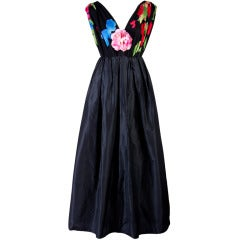 Vintage Leonard Black Taffeta with Floral Top Gown